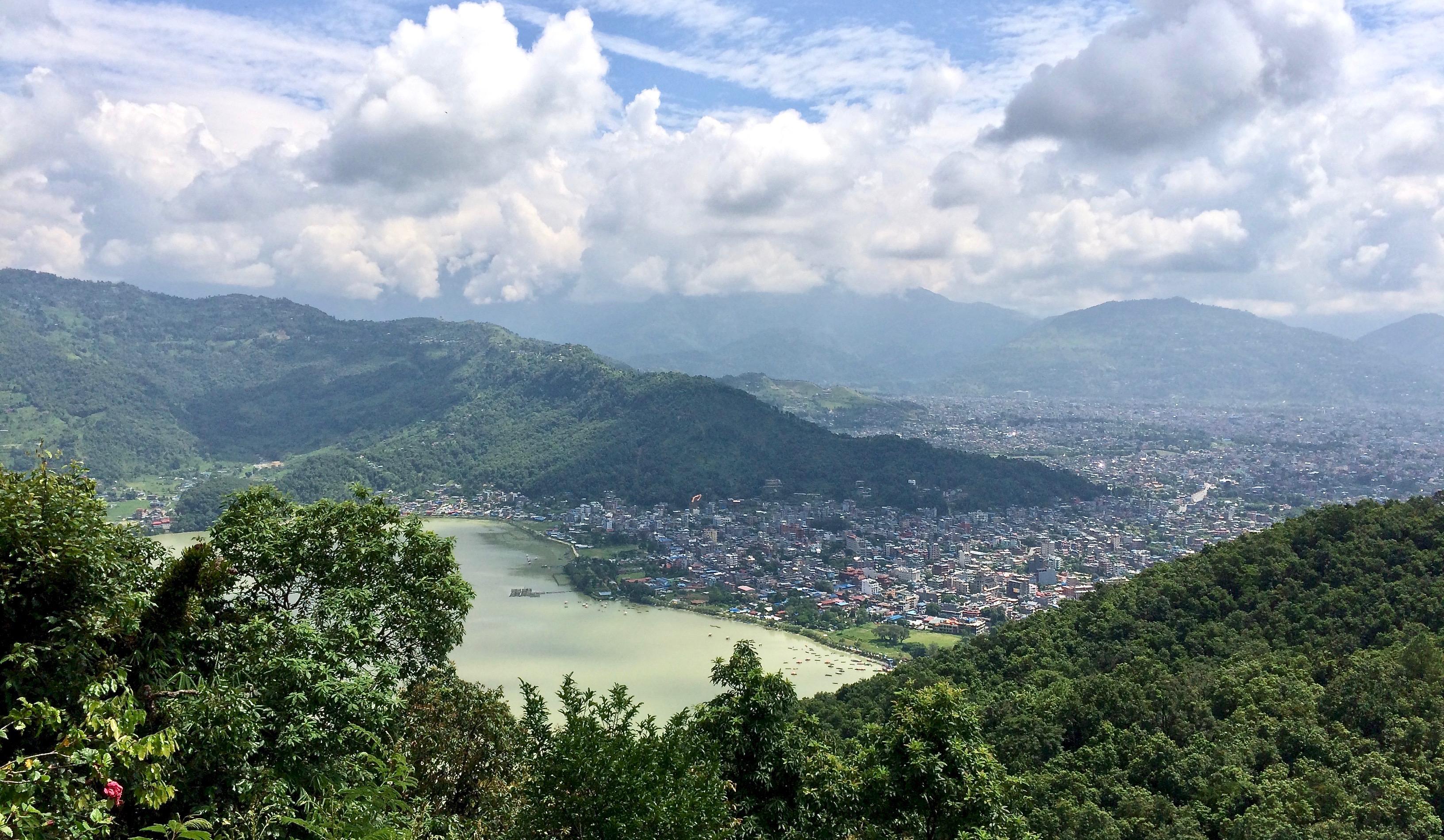 Pokhara town from the World Peace Pagoda