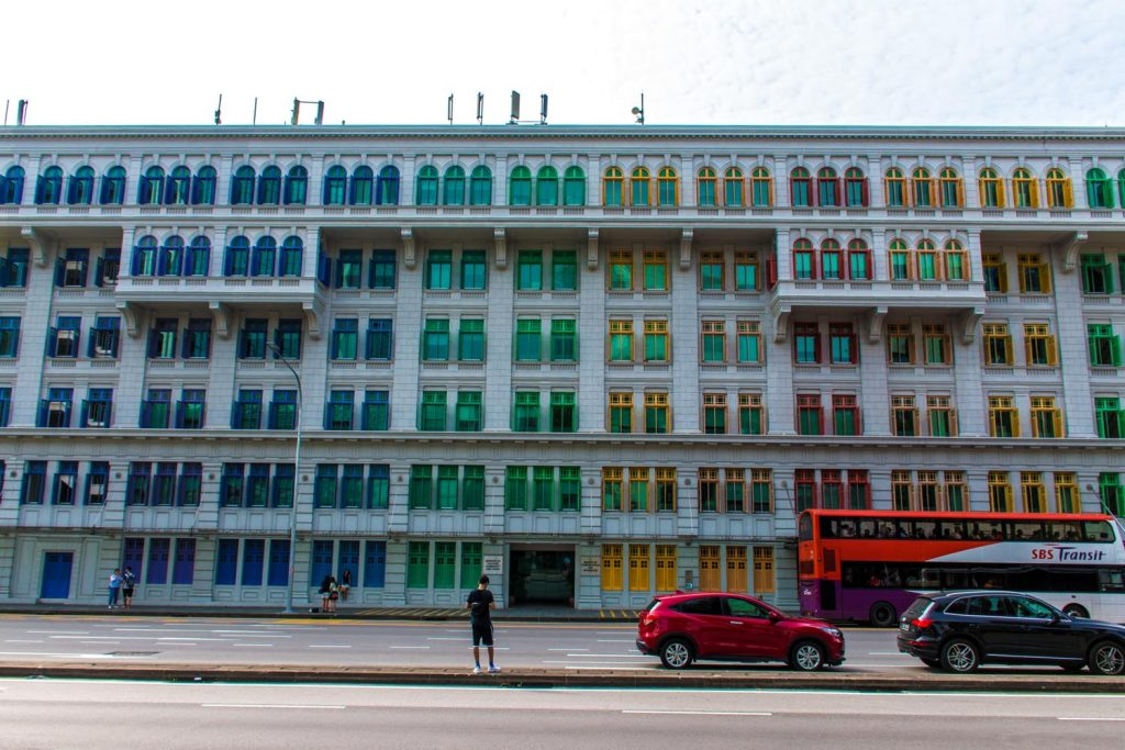 Colourful windows of modern architecture in Singapore